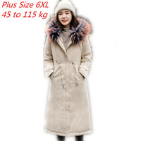 Manteau Femme Hiver2019Fashion Long Winter Parkas Women Plus Size 6xl Cotton Padded Coat Hooded Colorful Fur Collar OvercoatH152