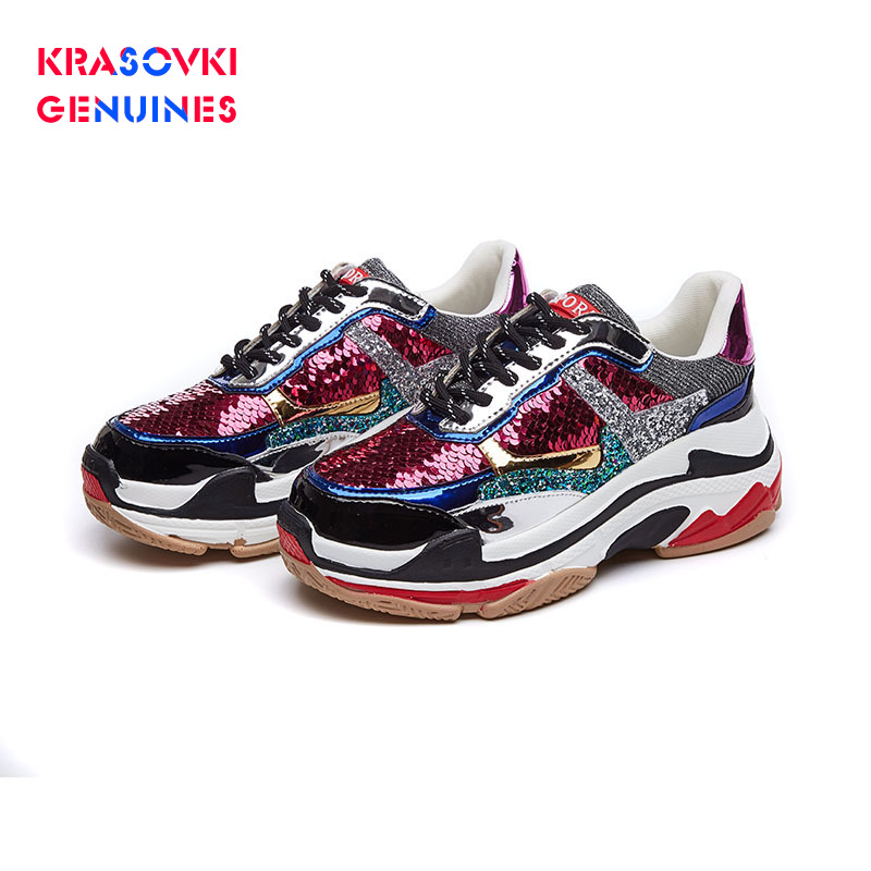 Krasovki Genuines Sneakers Women Autumn Round Toe Mixed Colors Dropshipping Fashion Lace Bling Thick Bottom Leisure Women Shoes
