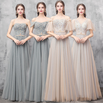 New Bridesmaid Dresses Shiny Crystal Appliques A-Line Wedding Guest Gowns Sexy Boat Neck Off The Shoulder Formal Vestidos R036