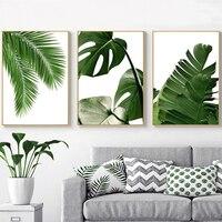 Cuadro sobre lienzo para pared de estilo escandinavo, carteles nórdicos con hojas verdes tropicales e impresiones de imágenes para sala de estar