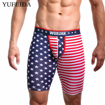 YUFEIDA Mens Underwear Boxer Shorts USA Flag Low Rise Underpants Underwear Middle Shorts Boxers Trunks Pants Male Sissy Panties фото
