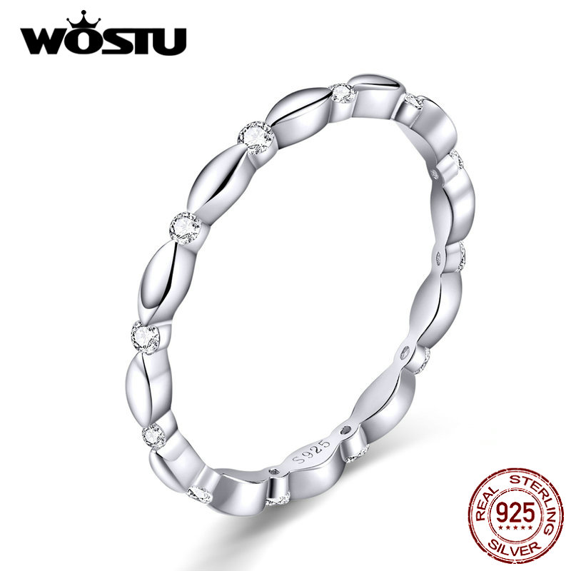 WOSTU 100% 925 Sterling Silver Fashionable Wedding Ring Zircon Finger For Women Lover Luxury Rings Silver 925 Jewelry CQR563