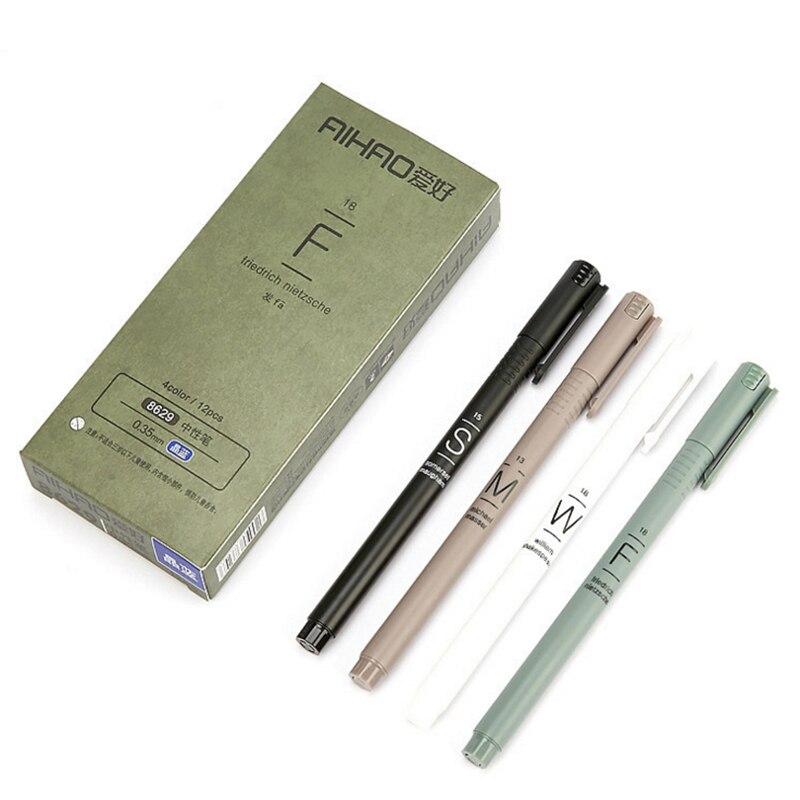 Купить с кэшбэком 4 Pcs/Set Simple Gel Pen 0.35mm Black Blue Ink Neutral Pen For Kids School Office Writing Supplies Korean Stationery