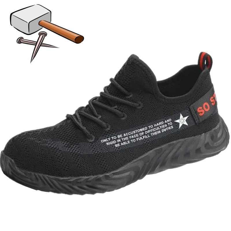 Zwart Hamer Mens Veiligheid Laarzen Werken Schoenen Vrouwen Ademend Industriële Sneakers Stalen Neus Werken Enkel Lichtgewicht Schoeisel