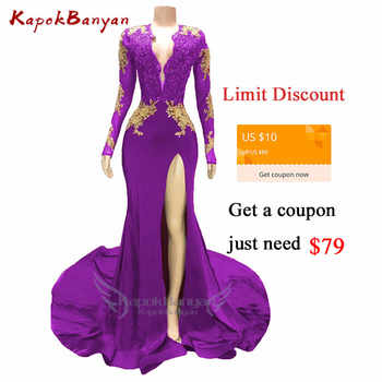 Side Split Gold Applique Mermaid Prom Dress for Black Girls Long Sleeves Zipper Beaded Evening Gown Sexy Prom Dresses Long 2019 - DISCOUNT ITEM  30% OFF All Category