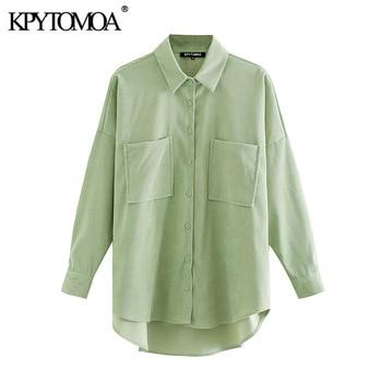 KPYTOMOA Women 2020 Fashion Pockets Oversized Corduroy Shirts Vintage Long Sleeve Asymmetric Loose Female Blouses Chic Tops 5