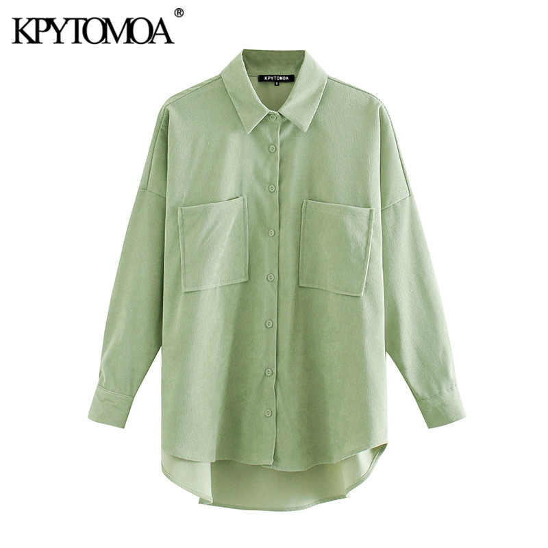 KPYTOMOA 여성 2020 패션 주머니 대형 코듀로이 셔츠 빈티지 긴 소매 비대칭 느슨한 여성 블라우스 세련된상의