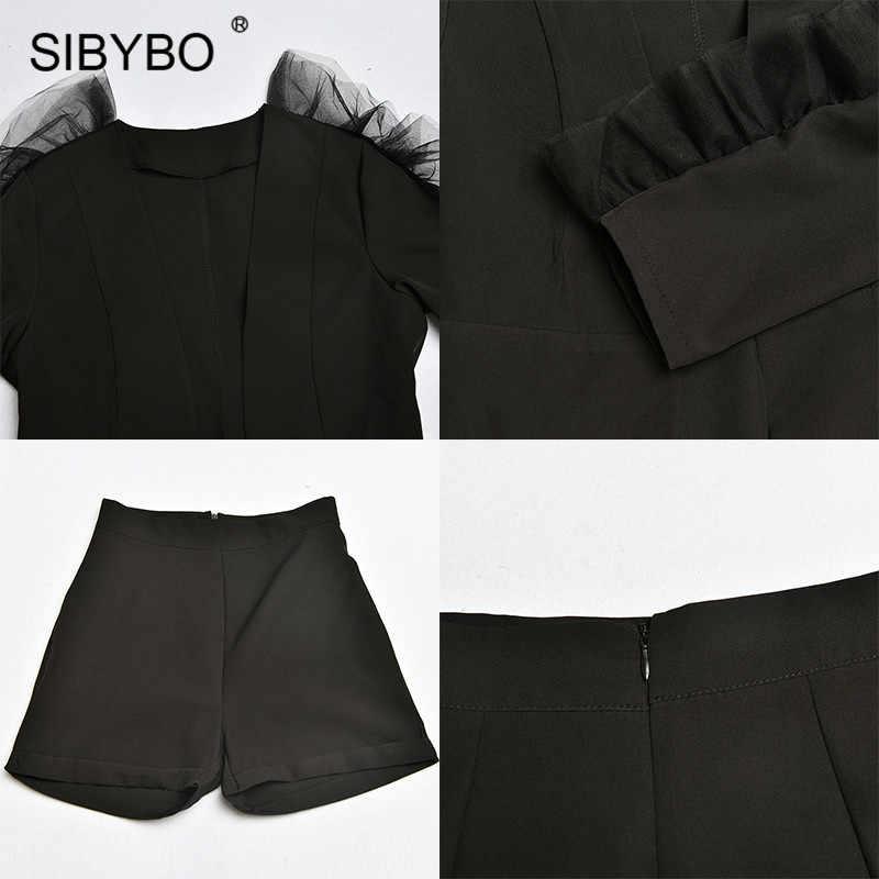 SIBYBO ディープ V ネックメッシュにスプライシングセクシーな女性ブレザーとショーツセット長袖春ツーピースセット女性黒カジュアル女性セット