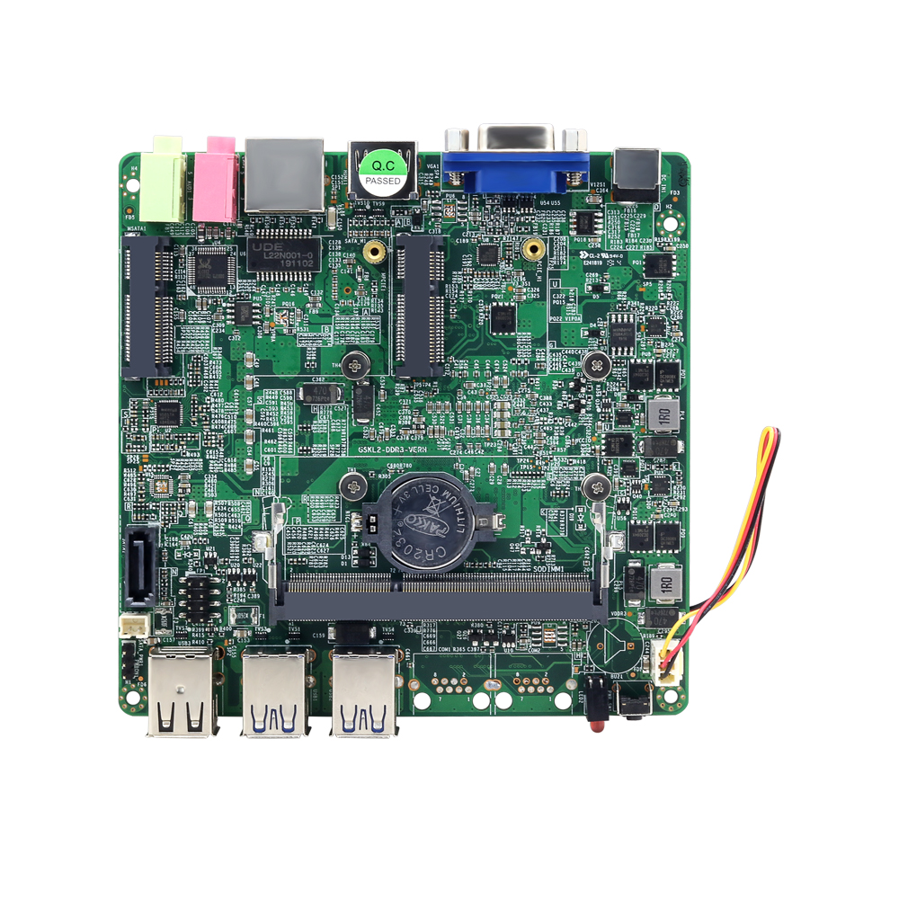 Intel Core I5-7200U Mini PC Motherboard 4*USB3.0 2*USB2.0 VGA HDMI Mini PCIE WiFi MSATA SATA DDR3L Gigabit LAN 12V 5A 12x12CM