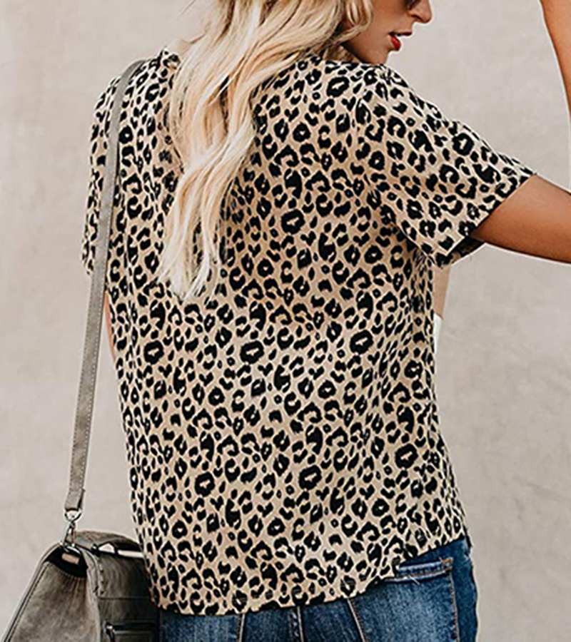 2020 Spring Summer New Women T-shirt Casual Leopard Print Round Neck Short Sleeve Shirt Ladies Tops Tees Womens Clothing  (4)