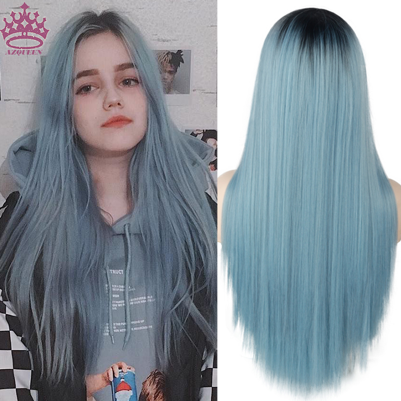 AZQUEEN Black Ombre Blue Long Straight Synthetic Hair Wig For Women 30 inch Can Be Cosplay Wigs Heat Resistant Middle Part Wigs