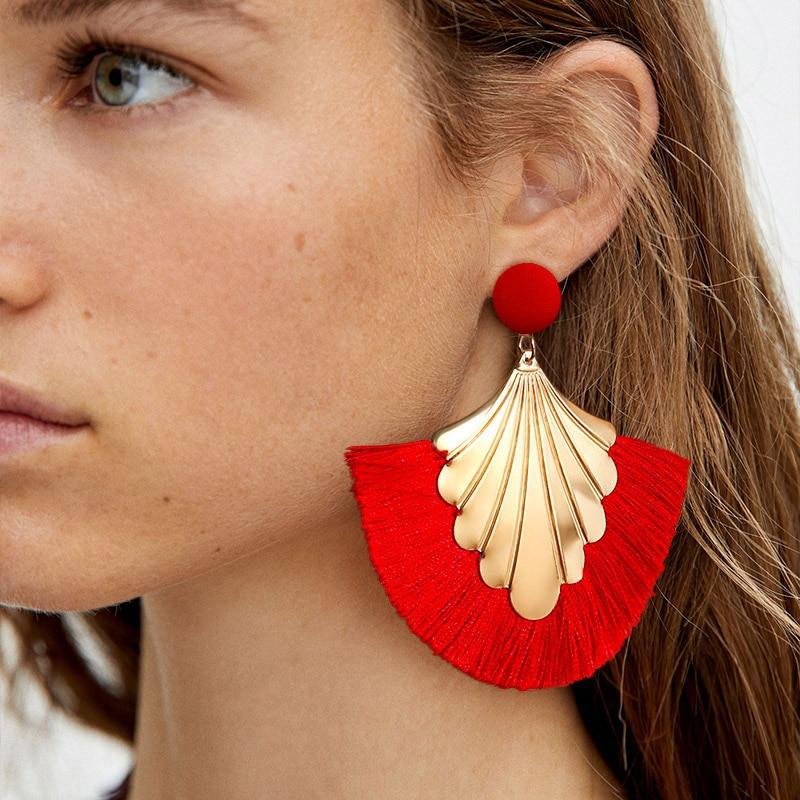 Vintage Trendy Tassel Earrings For Women 2109 Fashion Bohemian Earrings Geometric Fringe Dangle Drop Brincos Female Ear Jewelry