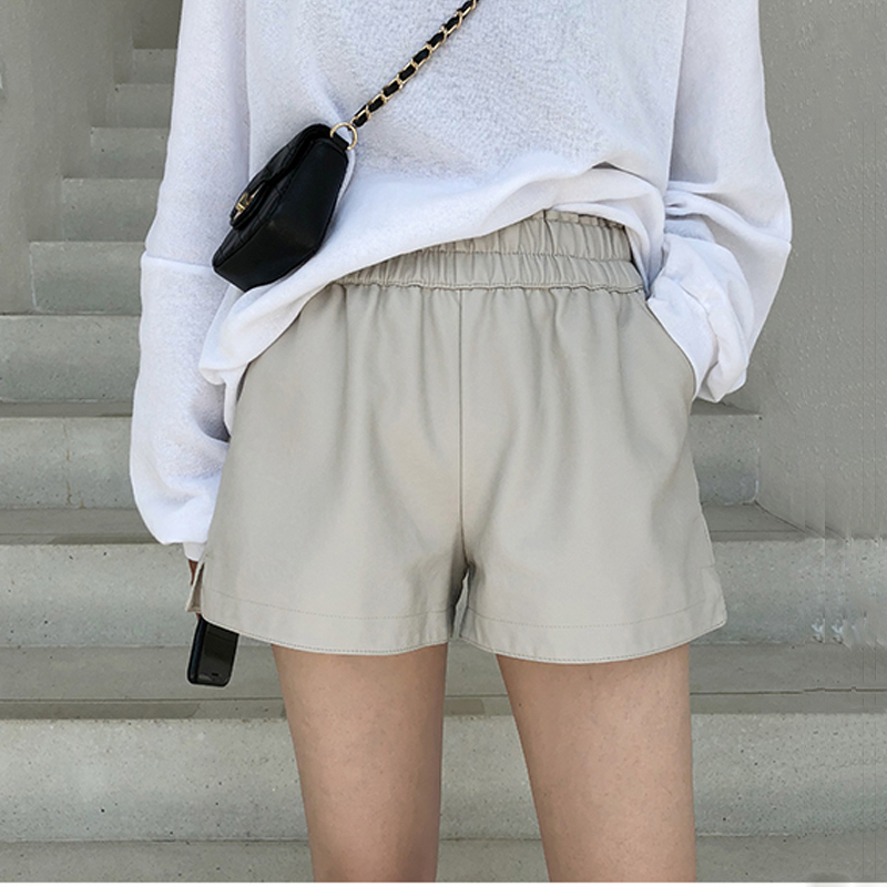 Khaki PU Leather Shorts Women High Quality Wide Leg Faux Leather Shorts High Waist Shorts For Women Autumn Loose PU Shorts