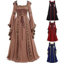Lugentolo длинное платье Для женщин Ретро Воротник Одежда с длинным рукавом с пол Длина кружевная однотонная colorPatchwork размера плюс 5XL
