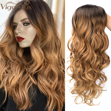 Vigorous Long Ombre Brown Blonde Wavy Wig Natural Hair Part Synthetic Wigs for Women Glueless Cosplay Heat Resistant Party Wig