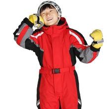 Модный зимний детский цельный лыжный костюм плотное теплое нижнее белье для сноуборда для девочек и мальчиков водонепроницаемый детский комплект для носки