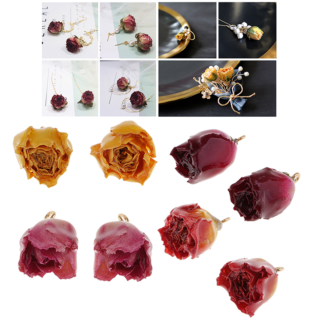 8Pcs Real Flower Charms Mixed Color Natural Dried Rose Pendants With Hanging Ring For Earring Making Findings Crafts
