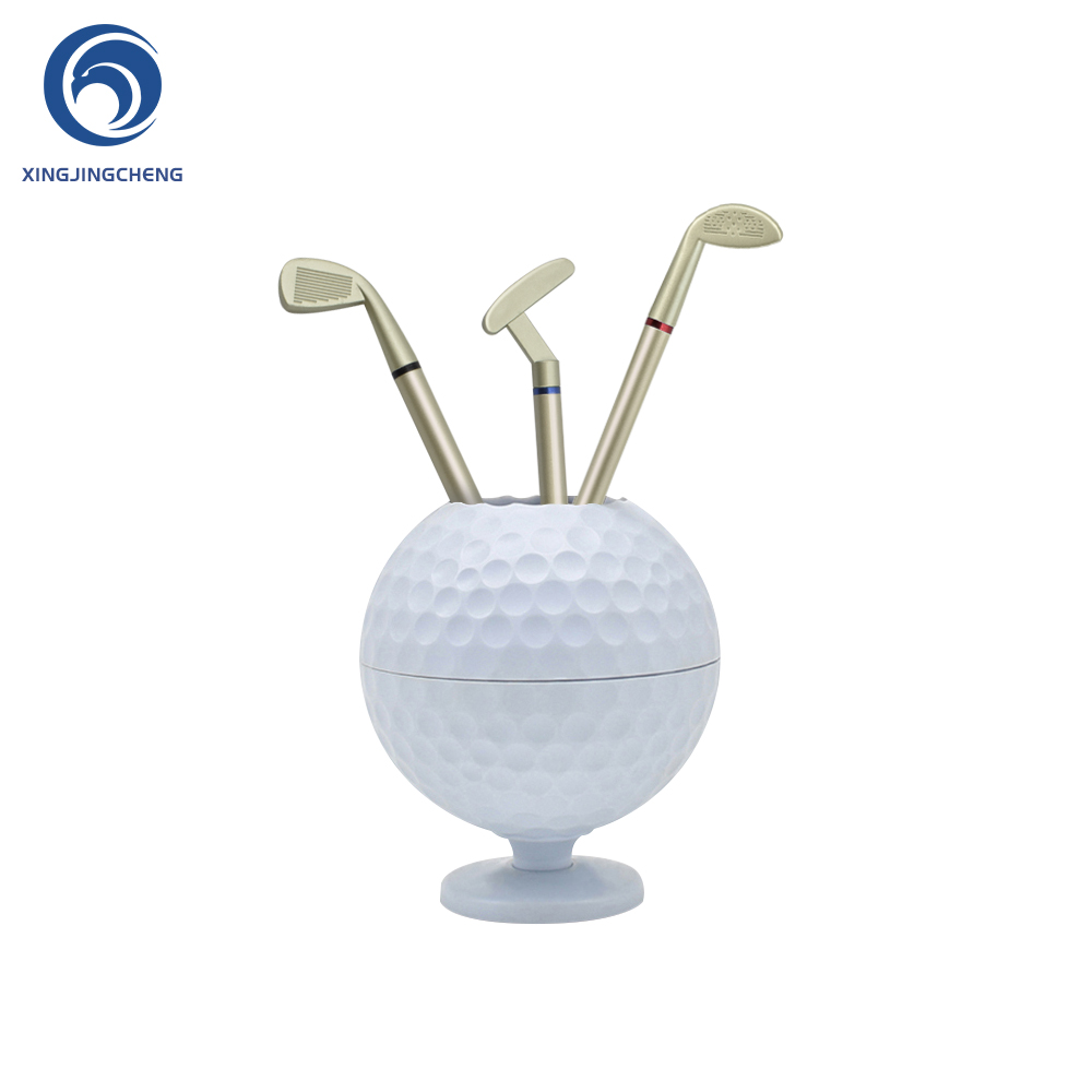 Novelty Mini Golf Ball Pen Pencil Holder Desktop Accessories Decoration Golf Gift For Dedicated Golfer With 3 Color Pens
