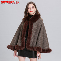 SC327 New Style Winter Warm Thick Plus Velvet Knitted Shawl 2019 Women Casual Loose Capes Faux Fox Fur Neck Cardigan Cloak