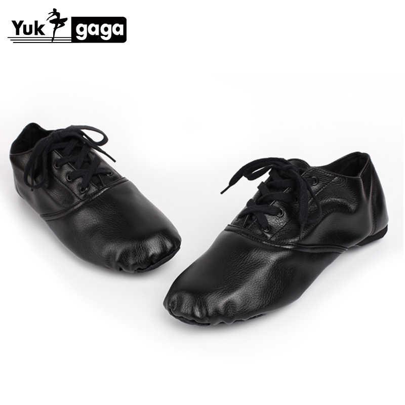 Black Genuine Leather Jazz Shoes Soft