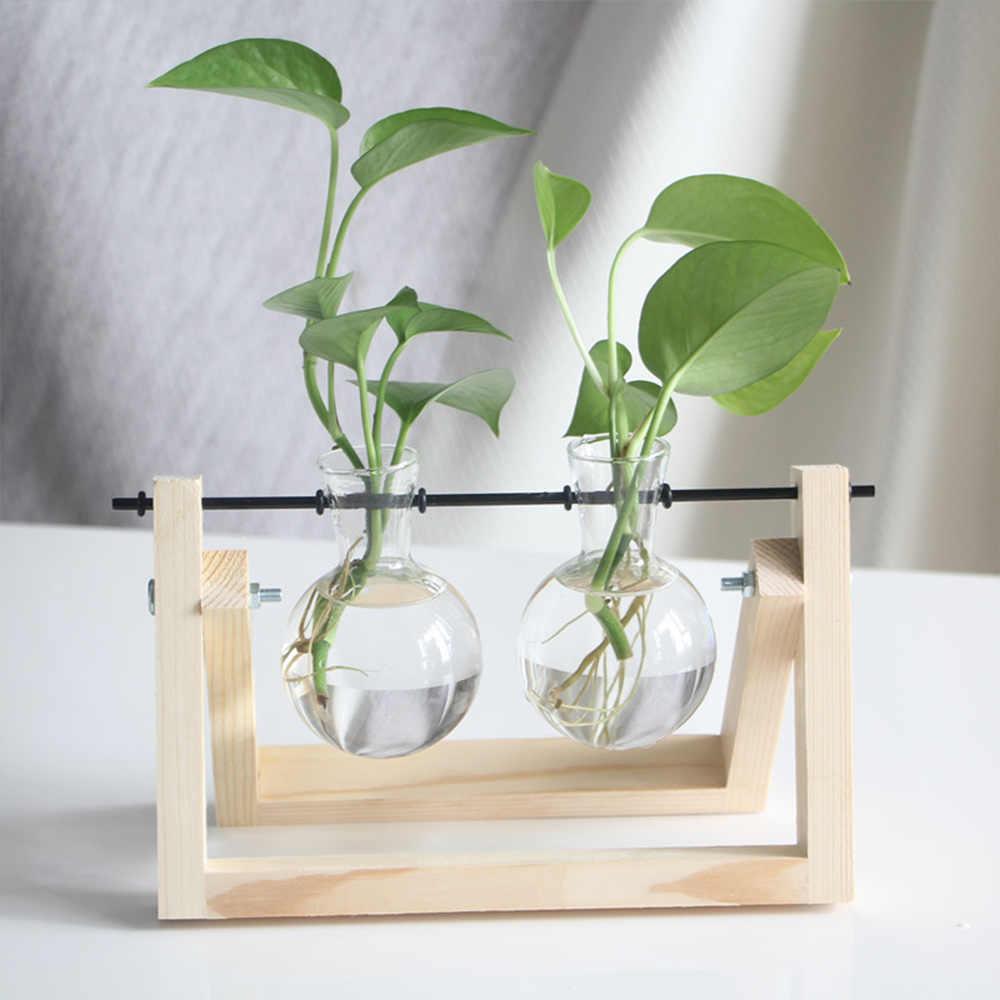 Desktop hidroponia planta bonsai vaso de flores vidro e madeira transparente terrário casa decoração bonsai