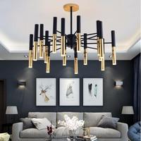 Post-moderne Kunst Schwarz und gold Led Anhänger Lichter Knappe Stick Design Wohnzimmer Schlafzimmer Bar Dekoration Licht Leuchten
