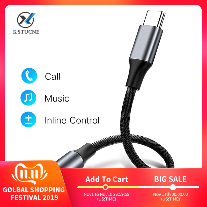 KSTUCNE Type C 3.5 Jack Earphone USB C To 3.5mm AUX Headphones Adapter For Huawei Mate 20 P30 Pro Xiaomi Mi 6 8 9 SE Audio Cable