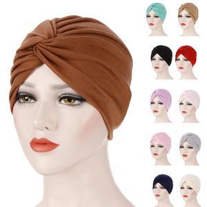 Image 1 - Gorro con turbante plisado para mujer, gorro musulmán para quimio, ropa interior, tocado, fundas para pañuelos de pelo, accesorios de moda