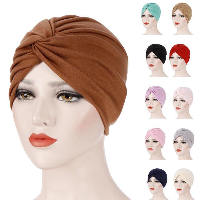 Gorro con turbante plisado para mujer, gorro musulmán para quimio, ropa interior, tocado, fundas para pañuelos de pelo, accesorios de moda