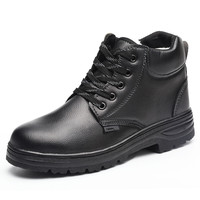 men fashion large size warm plush safety boots steel toe caps ankle work boot soft leather cotton tooling shoes security shoe
