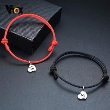 Vnox Handgemachte Paar Seil Armband Personalisieren Gravieren Initial Brief Name Armreif für Frauen Männer Edelstahl Herz Münze Charme
