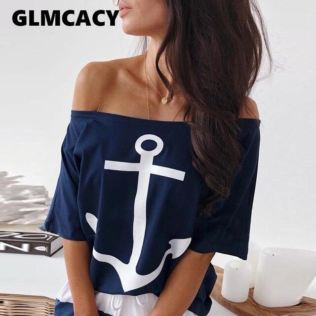 Femmes deux pièces ensembles bateau ancre imprimer T-Shirt & rayé jupe ensembles décontracté cheville-longueur mode épaule dénudée Maxi rayé jupe 4