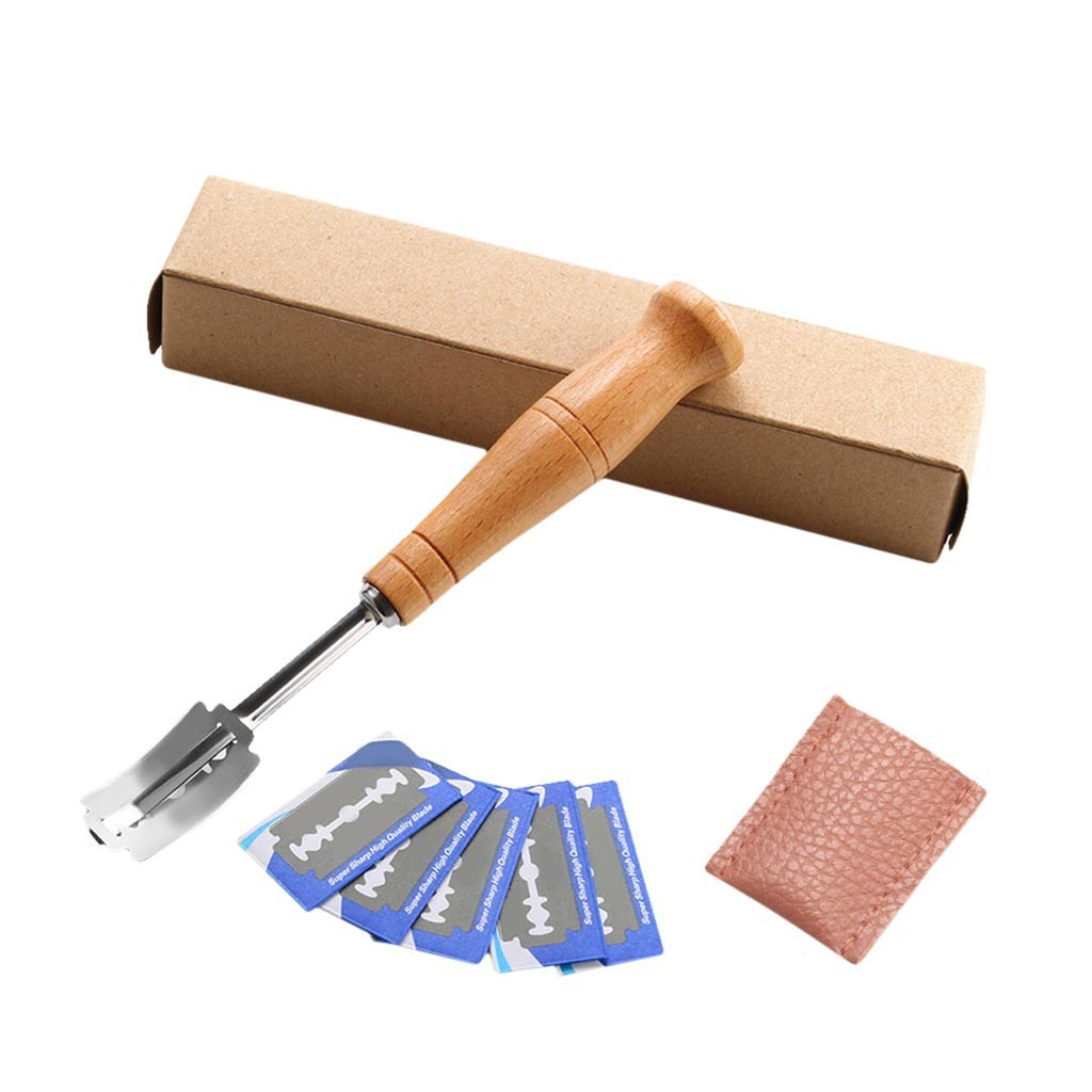 Blade-Slashing-Tool Curved-Knife Bread Accessor Wood-Handle Making-Cutter Arc with 5pcs title=