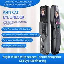 Cara inteligente fechadura da porta de impressão digital segurança rosto & monitor da câmera fechadura inteligente fechadura da porta eletrônica biométrica com app desbloqueio