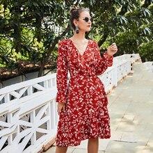 EVERAFTER Bohemian floral print sexy v neck women dresses elegant lantern sleeve ruffles sashes party ladies dress vestido 2019