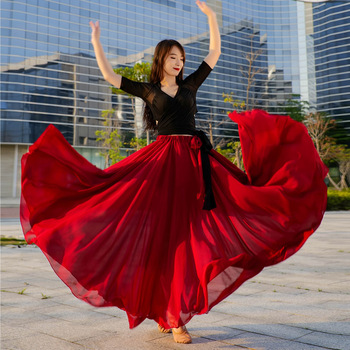 New Oriental Dance Skirt Swing Belly-Dance Women Performance Outfit 720 1000 Degree Dance Skirt Costume Full Circle Red 2