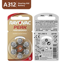 60 uds pilas para audífonos de Zinc Air 1,45 V Rayovac Peak A312 312A ZA312 312 PR41 S312, 60 uds.