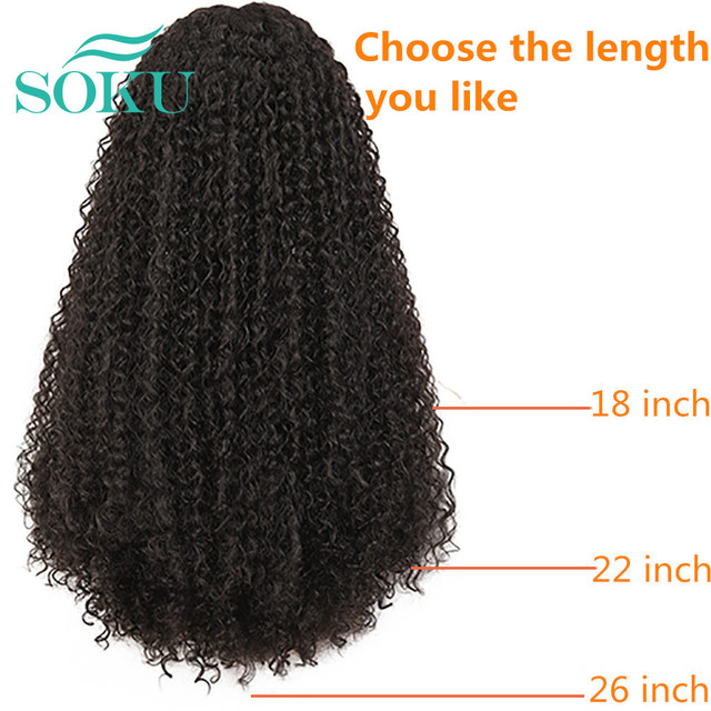 Kinky Curly Lace Front Wig Middle Part Synthetic Wig With Baby Hair SOKU Natural Color Heat Resistant Fiber Hair For Black Women|Synthetic Lace Wigs|   -