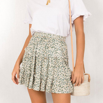 Women Skirts Spring 2020 Floral Printed A-line Mini Skirts Cotton Ruffles Pleated Skirts Beach Holidays Casual Skirts faldas фото