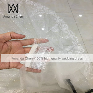 Image 3 - Amanda Design Long Luxury One Layer Glitter Tulle Veil with Comb