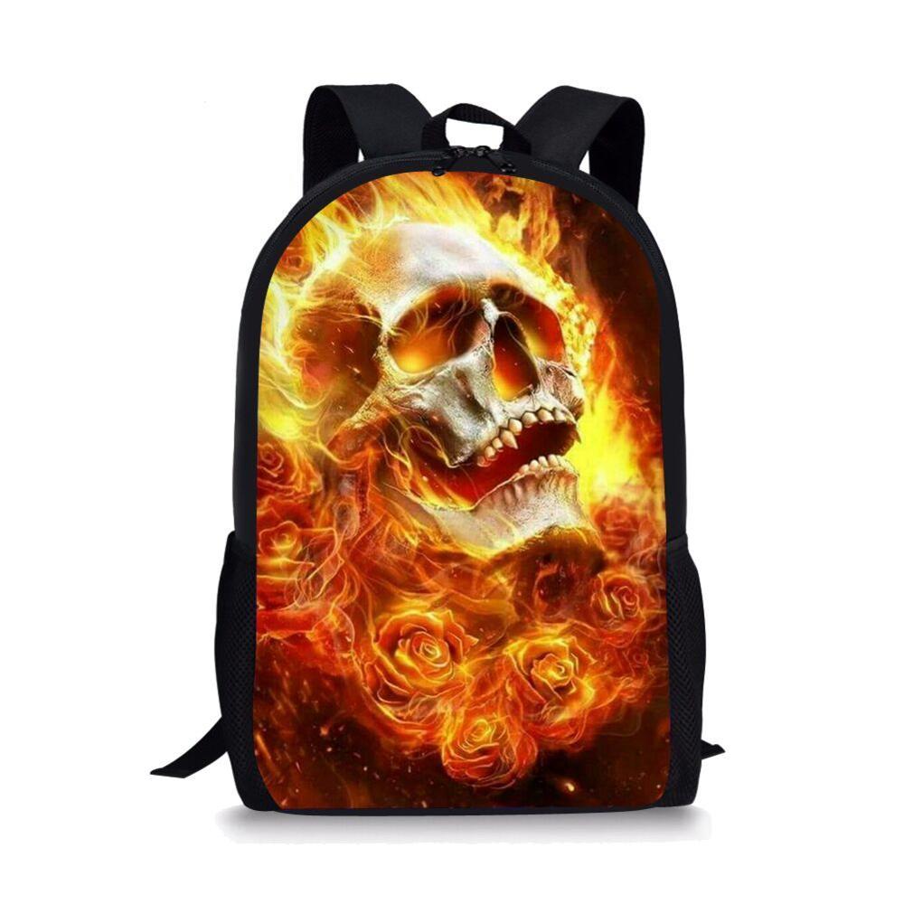 Thikin Burning Skull School Bags for Boys Candy Backpack Girls Package BookBag Women Travel Mochila