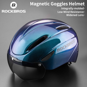 Image 1 - ROCKBROS casco de bicicleta para hombre y mujer, moldeado integralmente, transpirable, gafas, lentes Aero, MTB, Casco de Bicicleta de carretera