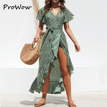 цена на Prowow V-Neck Summer Dress Woman 2020 Beach Maxi  Floral Print Boho Long Dress Ruffles Casual  Split Sexy Party Dress Robe Femme
