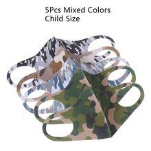 5Pcs Child Size Mixed Camouflage Color Sponge Mouth Mask Anti Cold Face Mask Dustproof Mask Color Random for Children