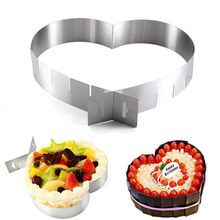 Adjustable Heart Shape Cake Mold DIY Chocolate Mousse Mould Stainless Steel Heart Shape Cutter Cakes Mousse Ring Pastry Mould 12pcs set round shape cutting molds stainless steel mousse cake ring cutter tool