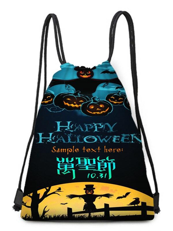 Holy Day Pumpkin Scarecrow Moonlight Crow Bat Printed Bundle Pocket