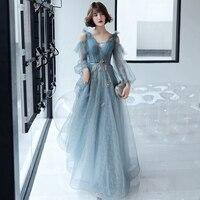 Women Sexy V Neck Evening Party Dress Exquisite Appliques Chinese Dress Sky Blue Qipao Cheongsam Maxi Dress Robe De Soiree