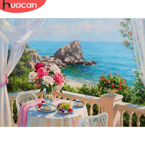 HUACAN 5D Diamond Painting Flower Vase River Landscape Home Decoration Cross Stitch Kit Mosaic Beaded Picture Full Square Drill Pakistan