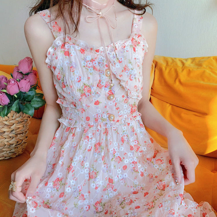 Cute Summer Print Floral Vintage Long Dress 9