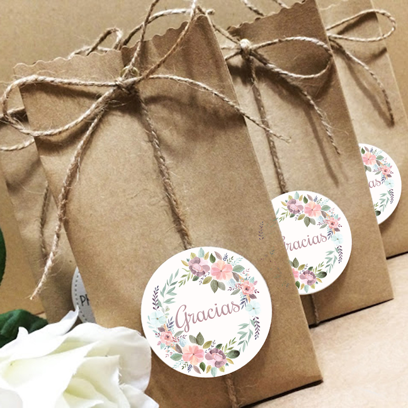 Благодарим за спасибо, наклейка для печати на Рождество, свадьбу, День благодарения, Цветочная рамка, наклейка, канцелярские украшения, накл...